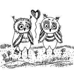 Owls trees grass Black contour on a white vector image vector image