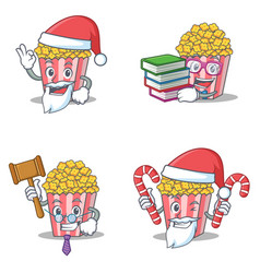 Set of popcorn character with santa boook judge vector