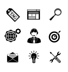 Set of SEO icons - target with arrow tag world vector image