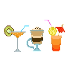 set pixel drinks vector image vector image