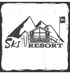Ski resort concept with cottage vector image vector image