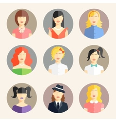 women avatars in flat style vector image vector image