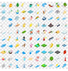 100 aqua icons set isometric 3d style vector