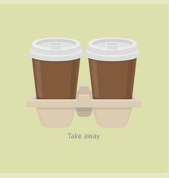 two take away paper coffee cups in carton holder vector image