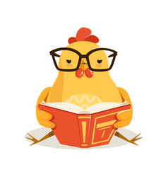 cute cartoon chick bird sitting and reading a book vector image