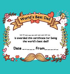 Worlds best dad award certificate template vector