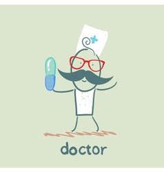 Doctor with a pill vector