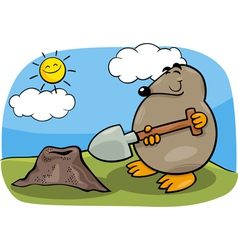 Mole with shovel cartoon vector