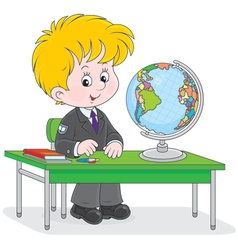 Schoolboy at geography lesson vector