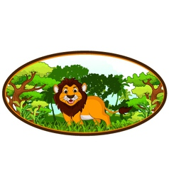 lion cartoon with forest background vector image
