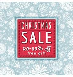 christmas background and label with sale offeer vector image