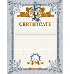 Certificate template with femida vector