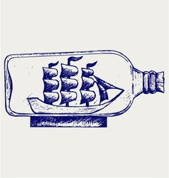 Old sailboat in glass bottle vector image