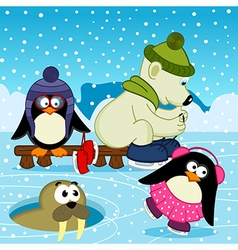 Polar bear walrus penguin on rink vector