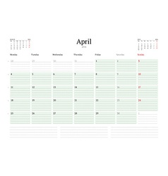 Monthly calendar planner 2016 print template april vector