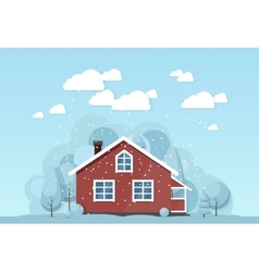 Winter house facade traditional cottage vector