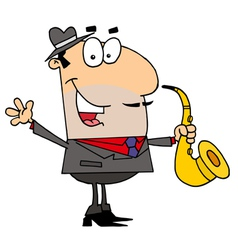Caucasian cartoon saxophone player man vector