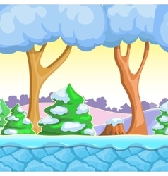 Seamless cartoon winter landscape with vector image