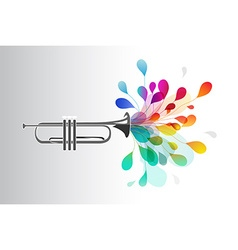 Gold trumpet with abstract colorful flowers on vector