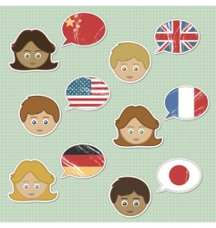 faces and flag stickers vector image