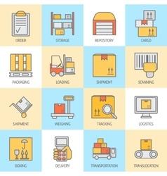 Storage line icons vector
