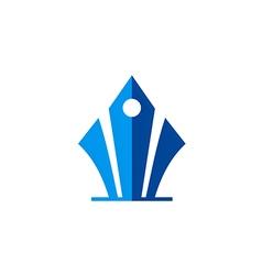 abstract pen blue jurnalist logo vector image vector image