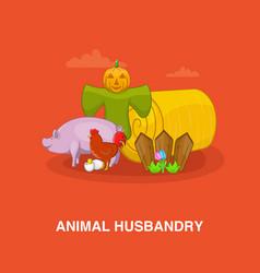 Animal husbandry concept cartoon style vector
