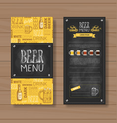 beer menu set design for restaurant cafe pub vector image