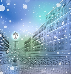 Christmas night in a snowy city vector