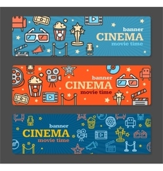 Cinema banner card tickets set vector