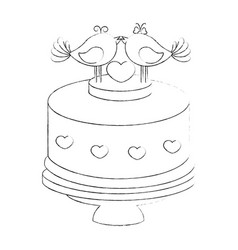 cute wedding cake vector image