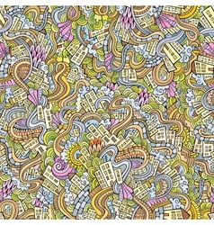 doodles hand drawn town seamless pattern vector image