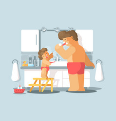 Father and son brush teeth vector