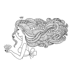 Female portrait ornate hairstyle for your design vector