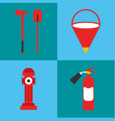 Firefighter icon set fire departament equipment vector