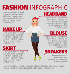 girl in casual style fashion infographic vector image vector image