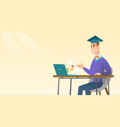 graduate getting diploma from the computer vector image