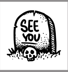 Hand drawn sketch of the skull and gravestone vector