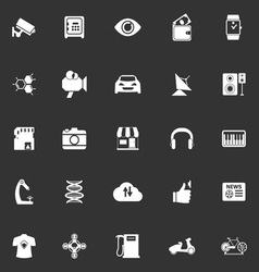 Hitechnology icons on gray background vector