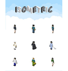 Isometric person set of detective officer vector