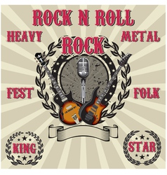 label in rock music with inscriptions vector image vector image
