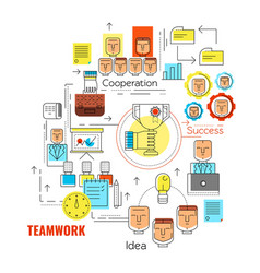 linear teamwork business strategy concept vector image vector image
