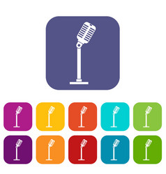 Microphone icons set flat vector