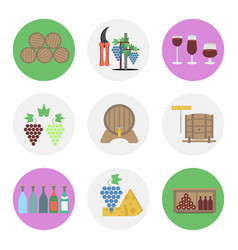Nine color flat icon set - wine production vector
