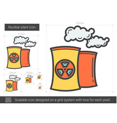 Nuclear plant line icon vector