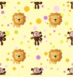 Pattern with cartoon cute toy baby monkey and lion vector