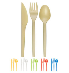 Plastic cutlery realistic 3d icon vector