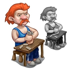 Red-haired man playing dominoes on wooden table vector