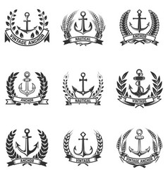 set of the emblems with anchors and wreaths vector image vector image