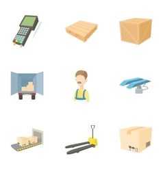 Shipping icons set cartoon style vector image